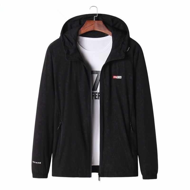 Büyük boy erkek rüzgarlık bisiklet ceketler erkek erkek Zip ince ceket 2020 ilkbahar ve sonbahar spor açık kapşonlu ceketler spor