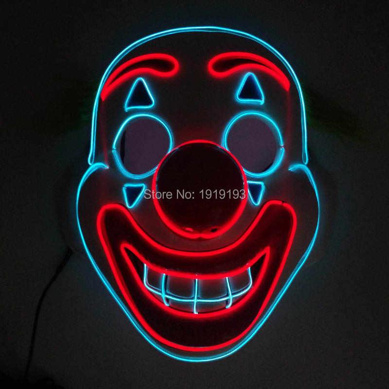 ราคาถูก! รูปการ์ตูน LED นีออนฮาโลวีนหน้ากากพรรควันเกิดวันหยุด EL เรืองแสงหน้ากากคอสเพลย์