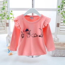 Spring Autumn Baby Girl Tops Tees Long Flare Sleeve Comfortable Cartoon Cat Print Shirts Kids Tops Casual Blouse For Girls girls plaid blouse 2019 spring autumn turn down collar teenager shirts cotton shirts casual clothes child kids long sleeve 4 13t