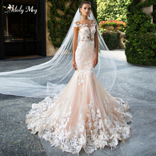 Adoly Mey Glamorous Appliques Gericht Zug Meerjungfrau Hochzeit Kleider 2020 Charming Scoop Neck Backless Trompete Braut Kleid Plus Größe