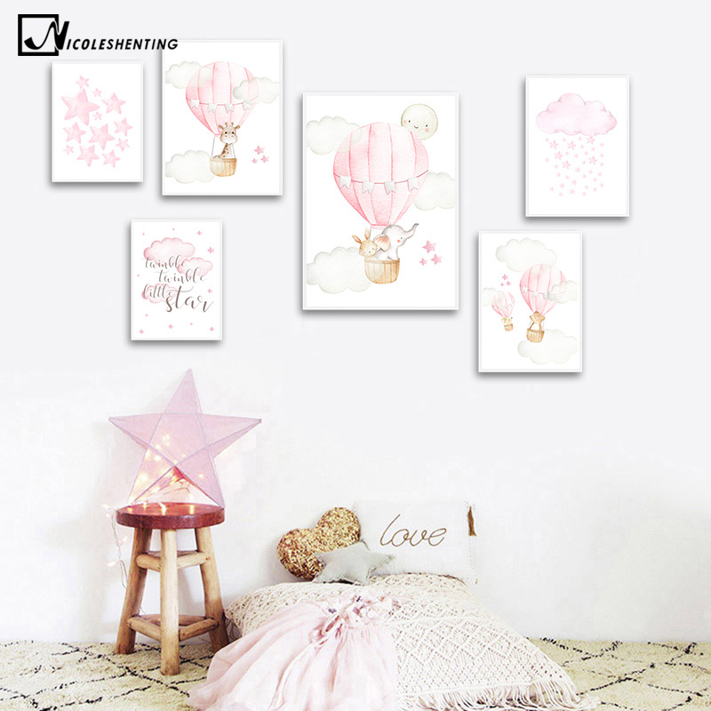 Baby Nursery Girl Wall Art Canvas Poster Pink Balloon Animal Travel Print Painting Nordic Kid Child Bedroom Decoration Picture