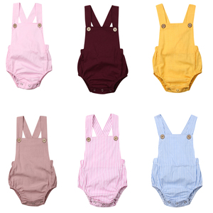2020 Infant Newborn Baby Boys Girls Romper Summer Cotton Sleeveless One-pieces Suspender Jumpsuits Cotton Clothes Outfits(China)