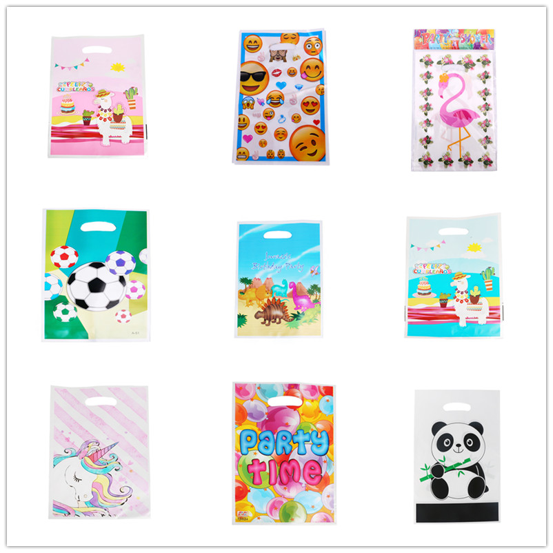 50pcs Cartoon Dinosaur Animals Gift Bags Child Birthday Party Decoration Kids Plastic Candy Dessert Loot Bag Baptism Favor Bags