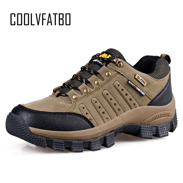 COOLVFATBO askeri taktik botları erkekler için deri açık havada yuvarlak ayak ayakkabı erkek rahat tırmanma yürüyüş ayakkabıları artı boyutu 36 47