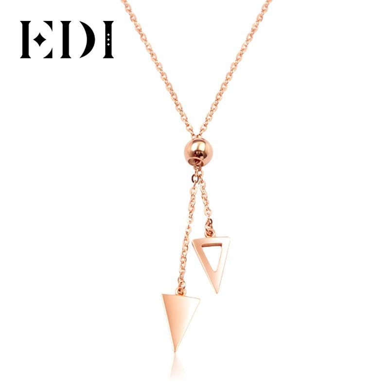 EDI الحقيقي النقي 18K روز حلية ذهبية قلادة OL نمط سترة سلسلة جولة و مثلث تصميم قلادة مجوهرات هدية ل النساء-في المعلقات من الإكسسوارات والجواهر على  مجموعة 1