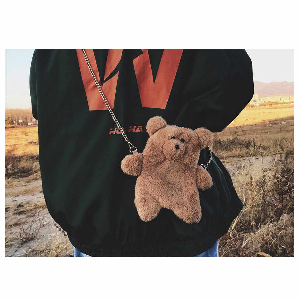 Retro Musim Dingin Lucu Beruang Coklat Mewah Selempang Mini Tas Hewan Boneka Tas Telepon Keluarga Tas Babi Gaun Beruang Ulang Tahun hadiah