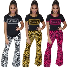 Letter Short Sleeve Tee Zebra Striped Printed Bell Bottom Pants 2 Piece Set Women Sexy Casual Outfits Sweat Suit Clothing Sets cutout neck bell sleeve striped tee
