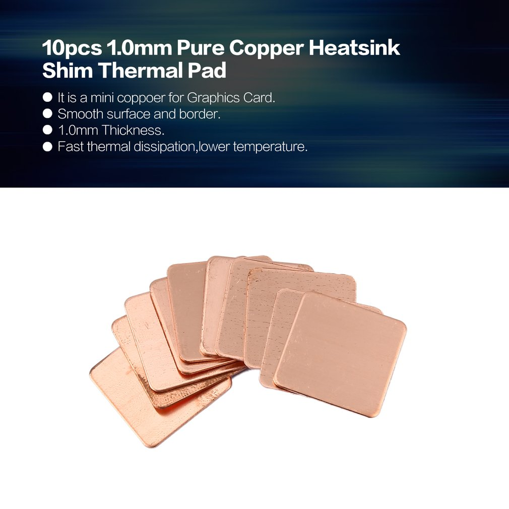 Tool Parts 10pcs Pure Copper Heatsink Shim Thermal Pad Barrier for Laptop Graphics Card 20mmx20mm 0.3mm 0.5mm 0.8mm 1.0mm 1.2mm Specification: 0.8mm