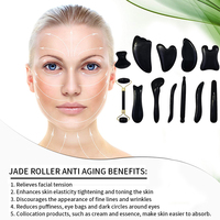Natural Black Obisidian Gua Sha Massage Tool Relax Meditation Stone Facial Skin Body Care Manual SPA Massager Pressure Therapy 3