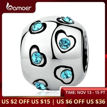 BAMOER Silver Color Blue Crystal Heart Beads Exquisite Bead Charms Fit Bangles & Bracelets Original Jewelry Accessories PA5320(China)