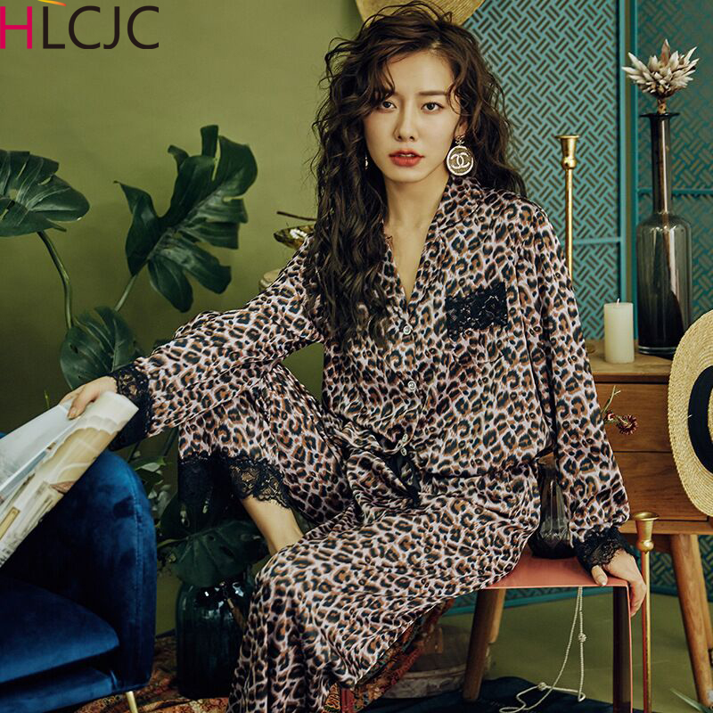 Newest Sexy Lace Leopard Pajamas For Women 2020 Spring Satin Pyjamas Women Casual Pyjama Femme Silk Pijama Mujer Girls Homewear