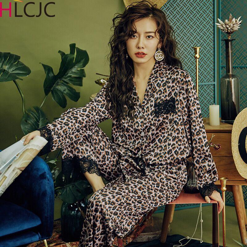 Newest Sexy Lace Leopard Pajamas For Women 2020 Spring Satin Pyjamas Women Casual Pyjama Femme Silk Pijama Mujer Girls Homewear