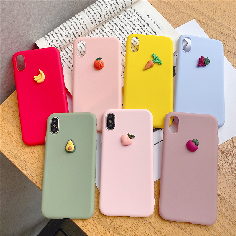 <font><b>Silicone</b></font> Phone <font><b>Case</b></font> For <font><b>iphone</b></font> <font><b>X</b></font> XR XS 11 Pro MAX 6S 7 8 Plus For Samsung S10 S9 S8 Note 10 9 8 Soft Cover Cute <font><b>3D</b></font> fruit image