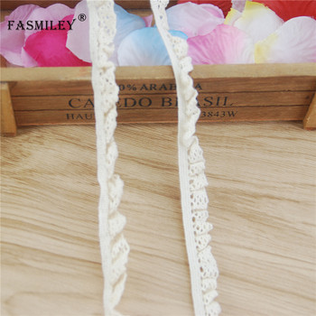 FASMILEY 10-13mm Ivory Elastic Lace Trim Beige Cotton Strechy Lace Ribbon Waving Lace Fabric Costume Materials 200yards LCS004-R