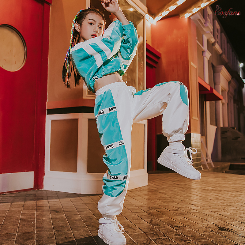New Hip Hop Dance Costumes Kids Stage Performance Clothing Children Modern Street Dancing Wear Girls Jazz Outfits