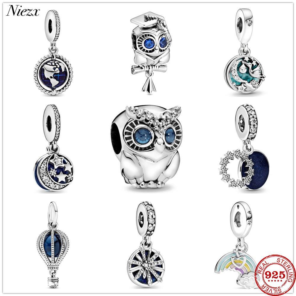 New original blue good night world sweet dream owl Charm fit pandora charms silver 925 Bead bracelet DIY women fashion Jewelry(China)