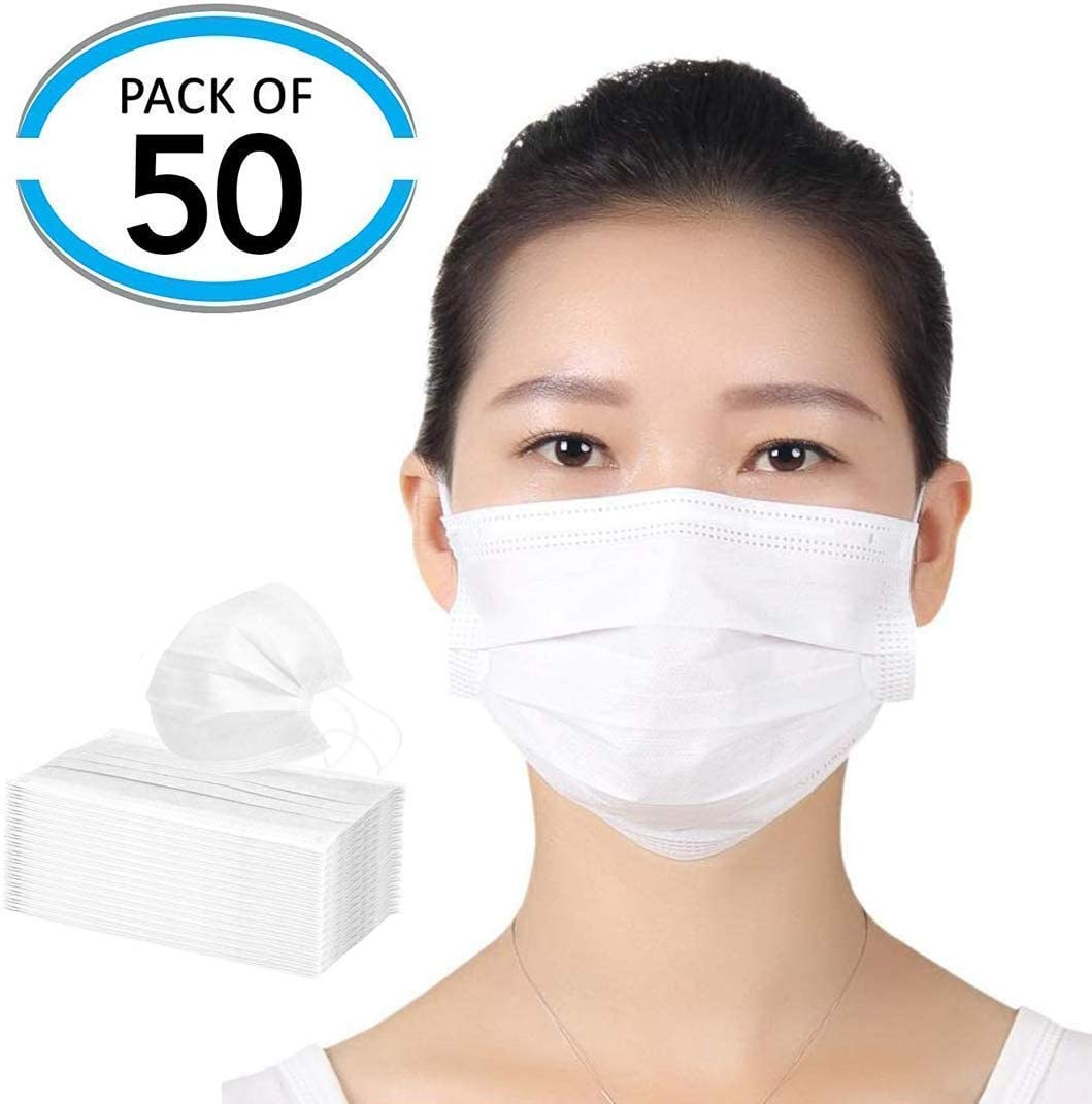1/5/10/20/50/100pcs Disposable Breathable Non-woven Face Mouth Mask Anti-Dust Elastic Ear-loops Mask Face Cover White