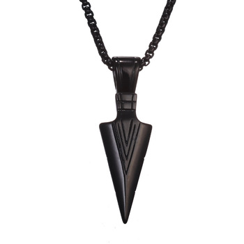 Spearhead Tribal Surf Pendant Necklace for Men Gold Silver Color Color Black Color Arrowhead Necklaces Fashion Punk Male Jewelry image