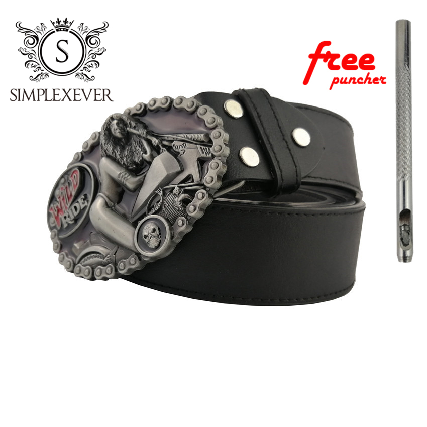 Belts With Ellipse Cowboy Cowgirl Metal Buckle Mens Silver Belt Buckle With PU Belt As Christmas Gift