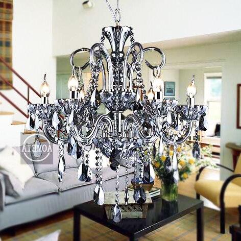 Modern Suspension Luminaire Fashion Crystal Pendant Light Living Room Smoky Grey Candle Lamp Hanglamp