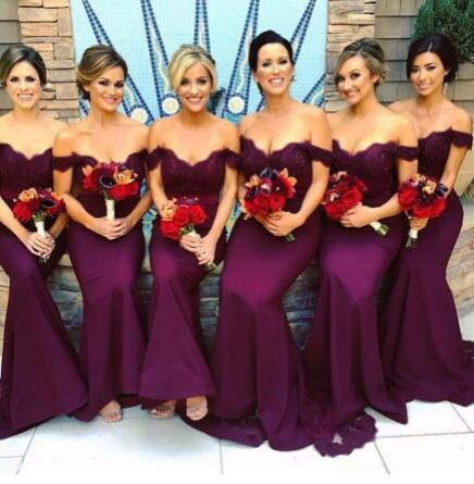 Purple Mermaid   Bridesmaid     Dresses   With Off The Shoulder Sleeveless Lace Appliques Wedding Party Gowns Stain Custom Made