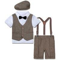 Conjunto de trajes para bebé, niño pequeño traje Formal infantil para, Blazer para disfraz de fiesta de cumpleaños, traje de caballero, camisa, pantalones cortos, sombrero, 4 Uds.