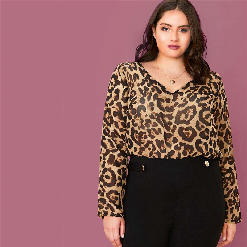 Plus Size Multicolor Leopard Semi Sheer Top Chiffon Blouse