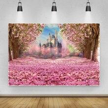 Laeacco fantasia flores rosa flor castelo fotografia backdrops árvore arco íris bebê retrato photocall fundos foto estúdio