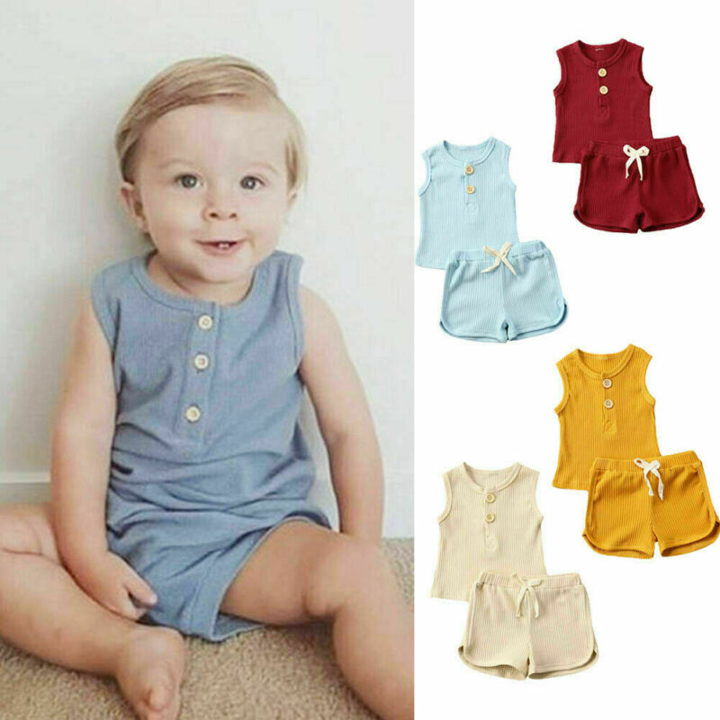 Summer Casual Cotton Toddler Baby Girls Boys Clothes Set Solid Striped Vest Top T-shirt+Shorts 2Pcs Kids Children Home Outfits