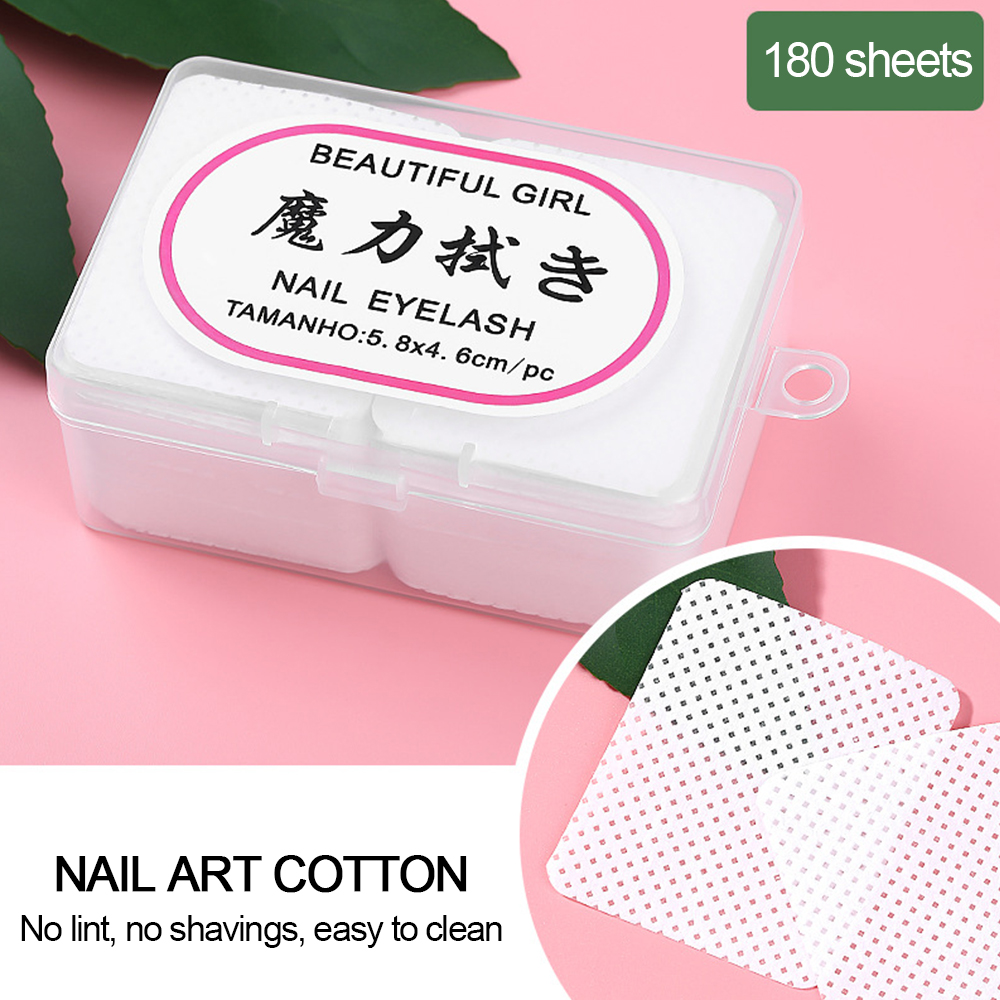 180pcs Nail Polish Remover Cotton Wipes UV Gel Tips Remover Cleaner Paper Pad Nail Wipes Bath Manicure Gel Wipes Cleaning Tools