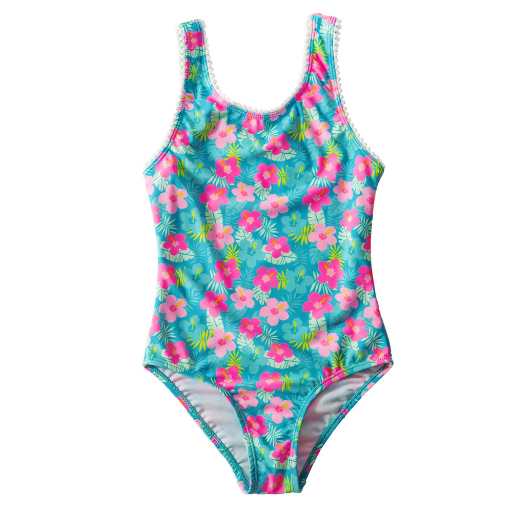 Shi Ying Amazon New Style America KID'S Swimwear Women's Vintage Printed Conservative Princess One-piece Swimming Suit 410010