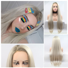 цена на AOSI Long Silky Straight Hair Synthetic Lace Front Wig Ash Blonde Side Part Cosplay Wig Glueless Front Lace Wigs for Women