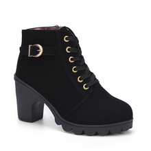 8.5 CM High Heels Classic Shoes Woman Female Round Toe Martin Boots Thick Heel Platform Women Shoes Ankle Boots botas mujer prova perfetto women knee high boots straps platform rubber shoes woman chunky high heel long botas mujer handmade martin boot