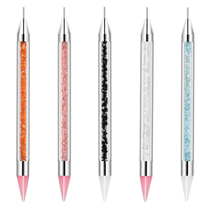 CYSHMILY 5 Colors Dual-ended Silicone Head Nail Art Dotting Pen Crystal Rhinestone Picker Tools Wax Pencil Nails Brush Manicure