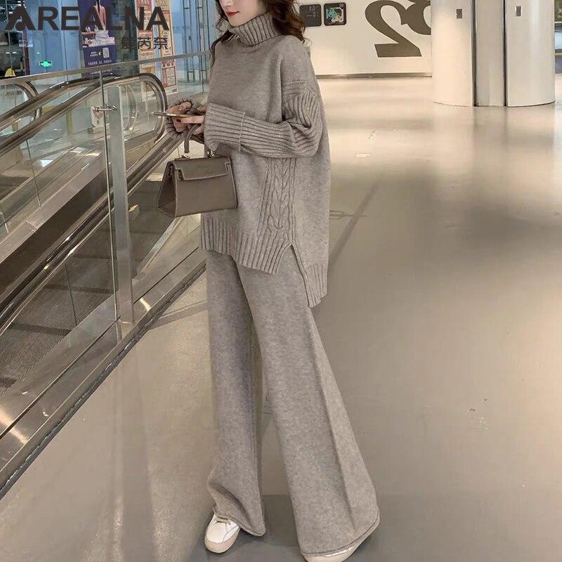 Balıkçı yaka kazak seti kadın eşofman 2020 ilkbahar sonbahar estetik örme takım elbise 2 parça Set sıcak kazaklar ve geniş bacaklar pantolon