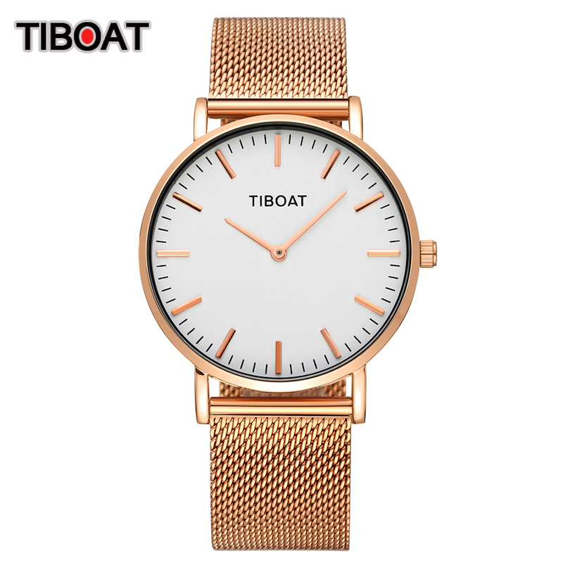 Japan Quartz Movement High Quality 40mm TIBOAT Women Stainless Steel Mesh Rose Gold Waterproof Ladies Watch Dropshipping