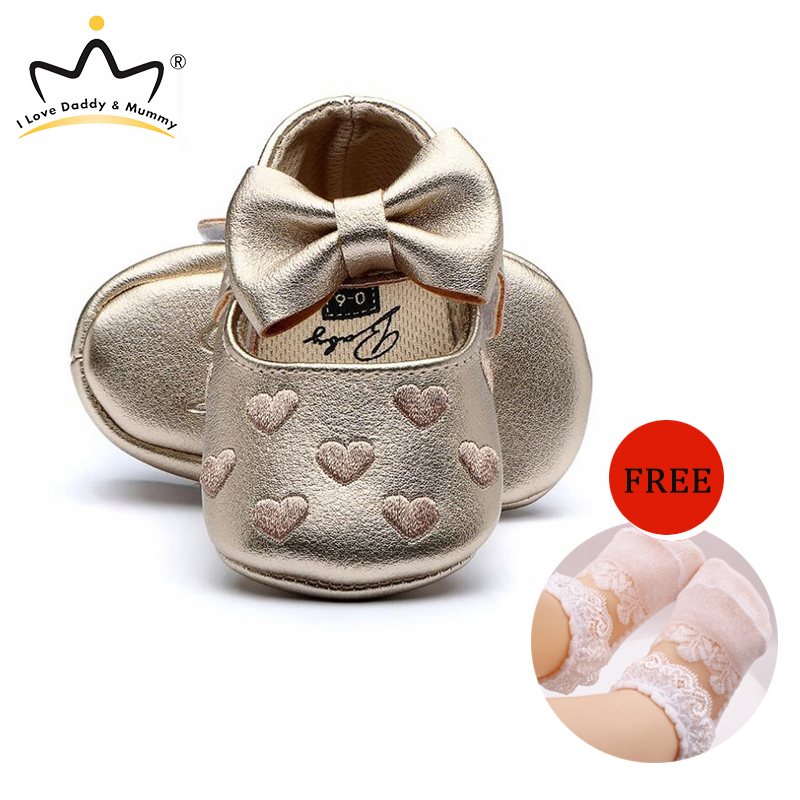 Cute Bowknot Baby Shoes Girls First Walkers Soft Bottom Anti Slip Princess Girls Shoes
