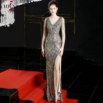 YIDINGZS Sexy Slit Sequins Long Evening Dress Womens V-neck Beading Evening Party Dress YD16596