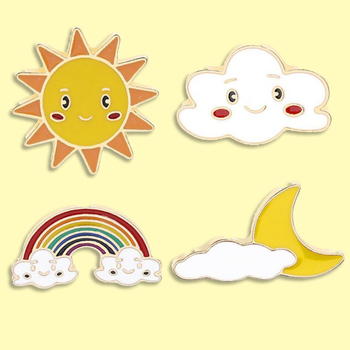 Smile Sun Cute Cloud Enamel Pin Sunny Cloudy Rainbow Badge Brooch Backpack Clothes Lapel Weather Jewelry Gift for Friends image