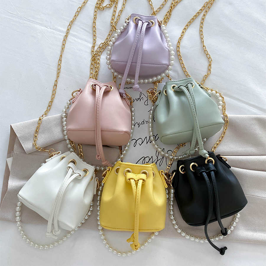 Women Chic Genuine Leather Chain Bucket Bag With Pouch Crossbody Shoulder Purse
