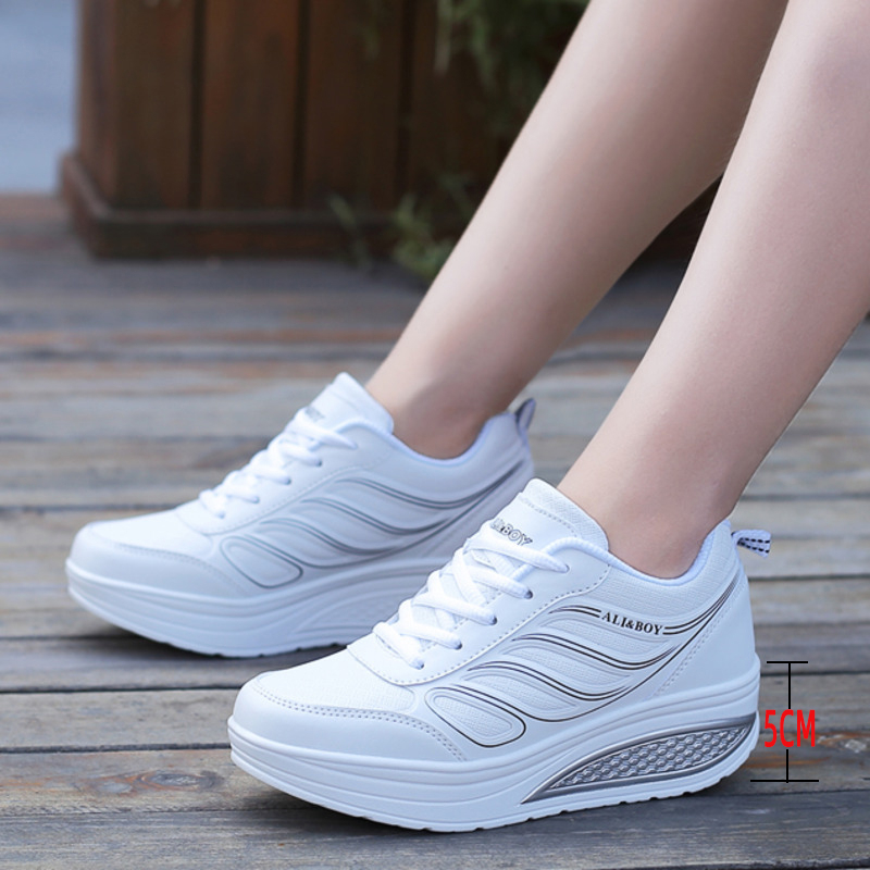 Height Increasing 5CM Platform Shoes Women Wedge Sneakers Leather Toning Shoes Soft Body Shaped Shoes Shock-Absorb Jumping Shoes