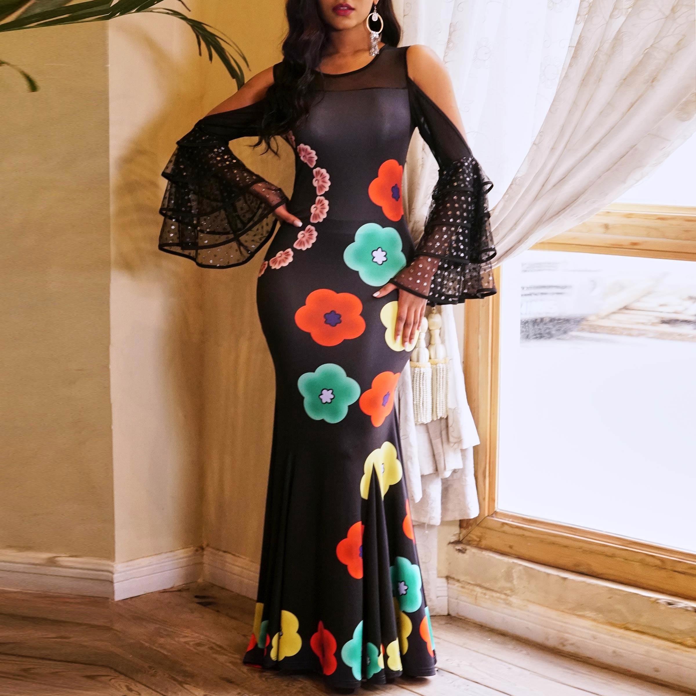 Bal de promo élégant noir femmes longues robes de grande taille hors épaule maille imprimé fleuri soirée à volants manches femme Maxi robe