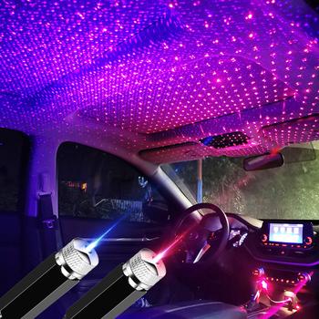Na dach samochodowy projektor lampa dekoracyjna LED lampa atmosfera dla renault duster megane sceniczny logan captur koleos kadjar kangoo Clio tanie i dobre opinie NONE CN (pochodzenie) Klimatyczna lampa Metal Blue and Red USB connector car roof star light car atmosphere ambient light