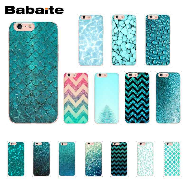 Babaite Fashion Aqua Perak Hijau Garis Glitter Photo Ponsel Case untuk iPhone 11 Pro 11Pro MAX 8 7 6 6S Plus X XS Max 5 5S SE XR