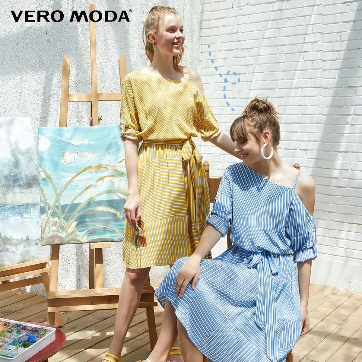 Vero Moda Women's Asymmetrical Shoulders 3/4 Sleeves High-rise Dress | 31927C508