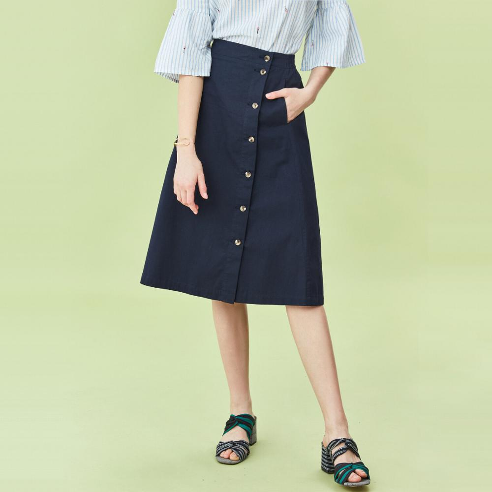 Giordano Women Skirts Cotton Button Closure Skirts Middle Long Soild Casual Middle Rise Jupe Femme 05460334