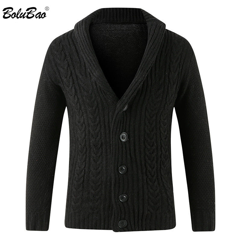 BOLUBAO Brand New Men's Sweater Knitting Men Long Sleeve Solid Color Slim Fit V-neck Coat Hooded Men Cardigan Sweater