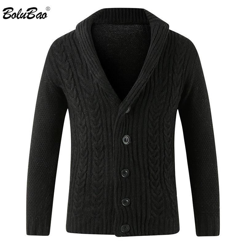 BOLUBAO Brand New Men's Sweater Knitting Men Long Sleeve Solid Color Slim Fit V-neck Coat Hooded Men Cardigan Sweater