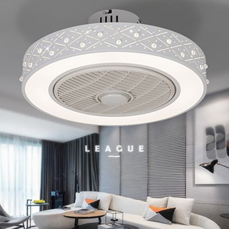 Modern minimalist white painted iron ceiling fan light crystal decorative acrylic LED lighting dimmable bedroom fan lamp - 2