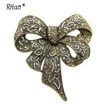 RHao Vintage oro Color arco nudo broches para mujeres regalos de joyería para boda hombres fiesta traje ramillete hijab pines arco flor broches